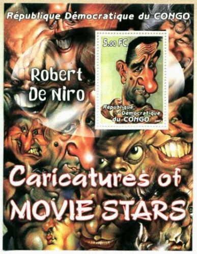 Caricatura De Robert De Niro - Hoja Con Estampilla Del Congo