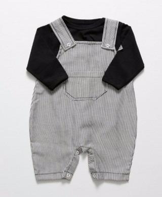 Kit Jardineira Listrada + Camiseta Longa - Bebê - Menino
