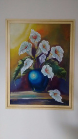 Quadro Pintura A Òleo - Flor Copos De Leite