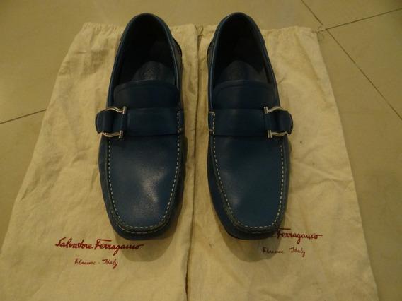 Zapatos Mocasines Ferragamo Hombre Azules 6-1/2mx Originales