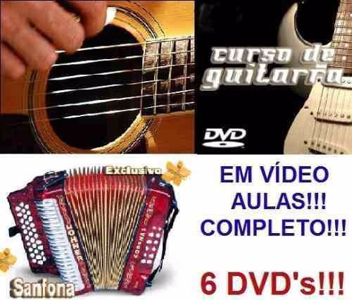 Curso De Acordeon + Guitarra + Violão! Aulas Em 6 Dvds Za9m