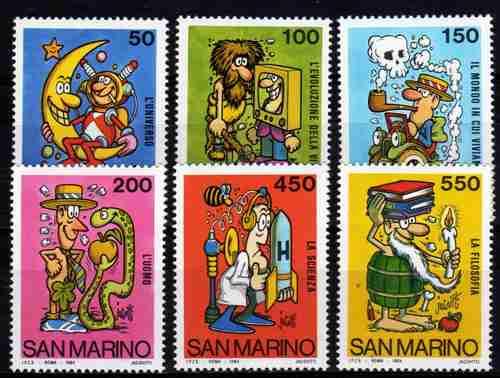 6 Estampillas De San Marino Diseños Humoristicos Año 1984