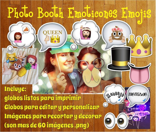 Photo Booth Emoticones Emojis Imprimible Props Frases Editar