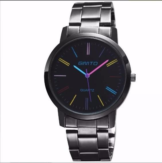 Relógio Feminino Aço Metal Cromado Preto Colorido M Gimto