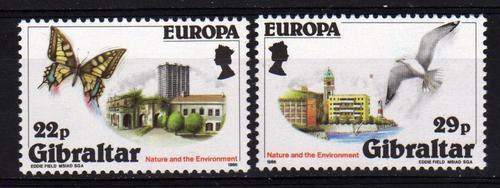 2 Estampillas De Gibraltar Tema Europa Mariposa Pajaros 1986