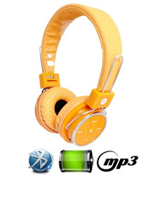 Fone De Ouvido Bluetooth Micro Sd Mp3 Rádio Fm Player Orange