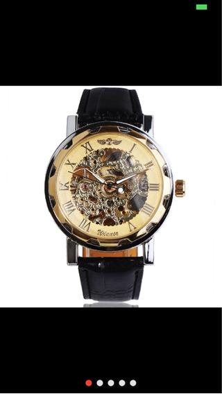 Relógio Masculino Couro. Mecânico Com Roman Escultura Skelet