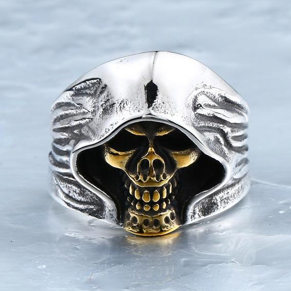 Anel Skull - Ceifador Caveira Face Dourada Inox Tam. 12/31
