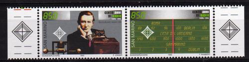 2 Estampillas De San Marino Centenario De La Radio Año 1995
