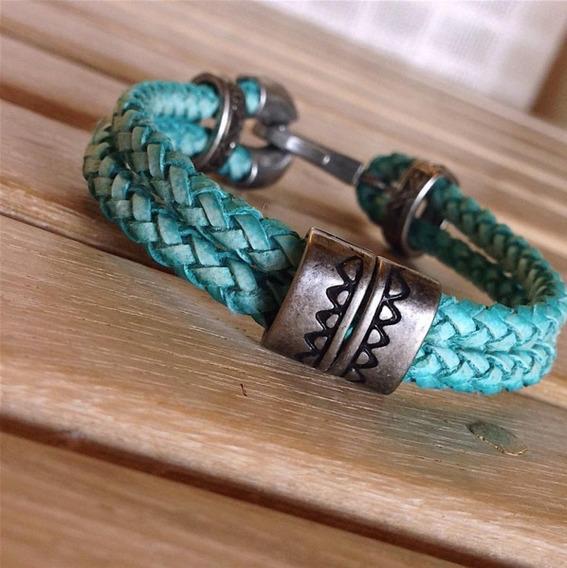 Pulseira Masculina Prata Couro Verde Cardin Design