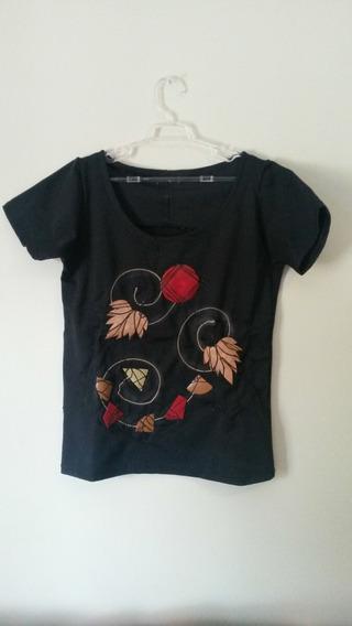 Blusa Camiseta Feminina Preta Estampada