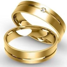 Par De Aliança Ouro 18k 750 9mm 22gr 1 Brilhante Casamento