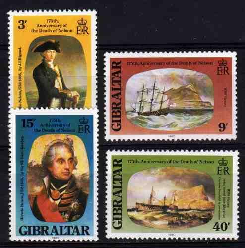 4 Estampillas De Gibraltar Pintura Barcos Año 1980