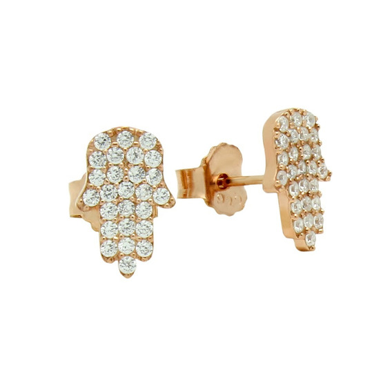 Rose Gold Plated Cz Pave Hamsa Earrings