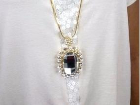 Colar Pendante Dourado Com Pedra Tipo Cristal