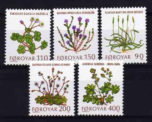 5 Estampillas De Faroe (dinamarca) Tema Flores Año 1980
