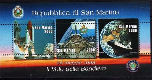 3 Estampillas De San Marino Tema Espacial Bandera Año 1998