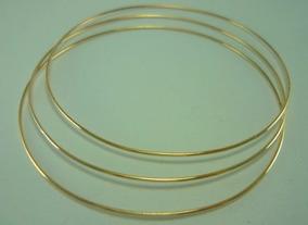 3 Braceletes De Ouro 9 Gr 18k Argola Fio Redondo