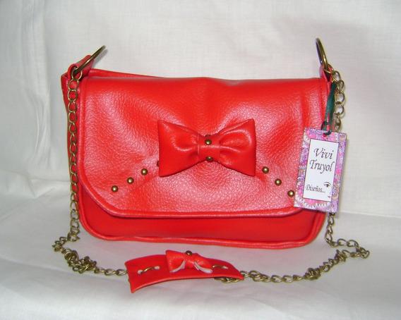 Cartera Simil Cuero Rojo Con Moño Y Cadena
