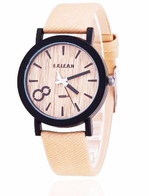 Relógio Feifan Madeira Pulseira De Couro - M009