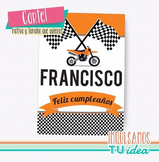 Cumple Moto De Carrera - Cartel De Bienvenida Para Imprimir