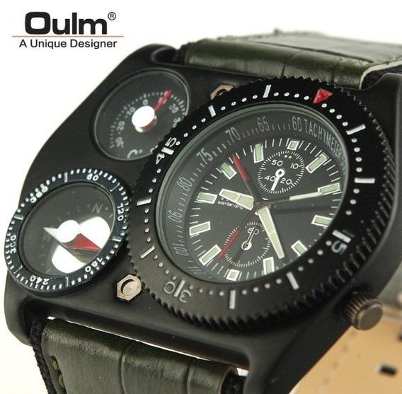 Relógio Masculino Militar Oulm Forças Termômetro Bússola
