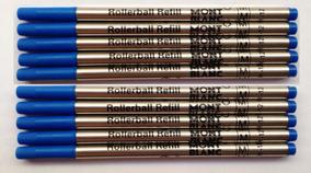 10 Cargas Mont Blanc Azul Refil Caneta Rollerball Média