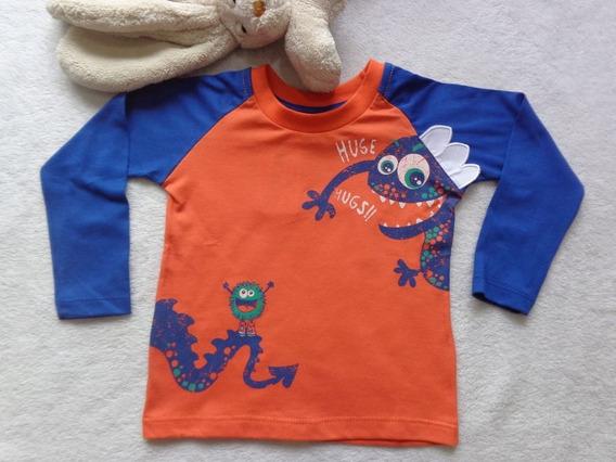 Camiseta Manga Longa Bebê Menino Mostrinho Azul Have Fun Hf0