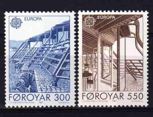 2 Estampillas De Faroe (dinamarca) Tema Arquitectura Moderna