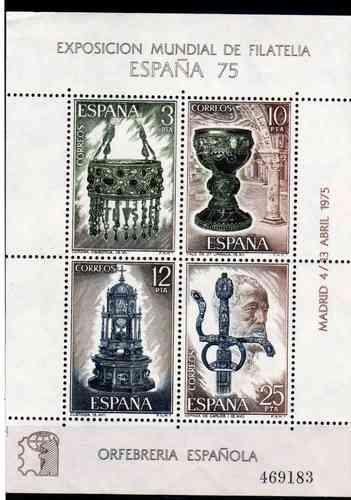 8 Estampillas De España Orfebreria Año 1975 Block 25 Y 26