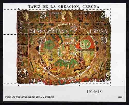 6 Estampillas De España Tema Tapiz Gerona Año 1980 Block 28