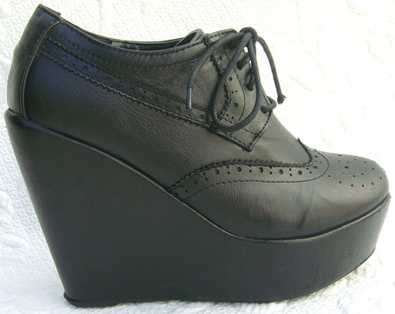 Forever21 Zapatos Plataforma 35 Cuero Vacuno Negro (ana.mar)