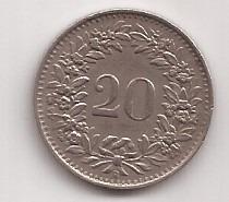 Suiza Moneda De 20 Rappen Año 1944