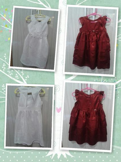 Vestido Cor De Vinho Tamanho 02 A 04 E Branco Tamanho 06