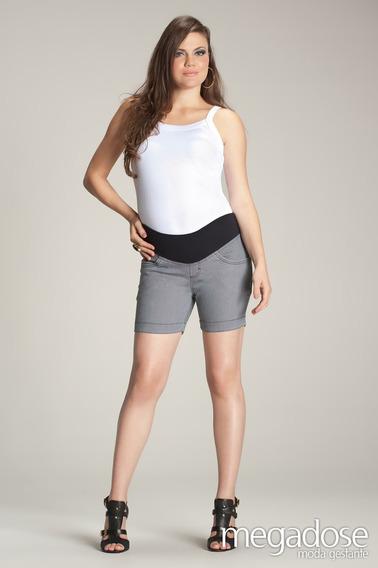 Shorts Anage Cinza M/g - Moda Gestante Megadose