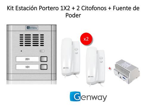Imagen 1 de 6 de Estacion Portero 1x2  Genway + 2 Citofonos + Fuente De Poder