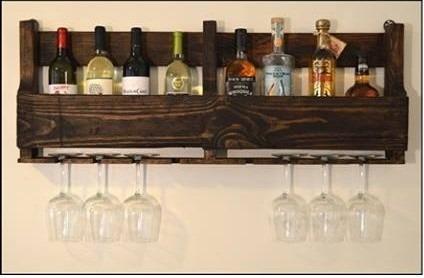 Adega Madeira Bar Bebidas Whisky Vinho Prateleira Porta Taça