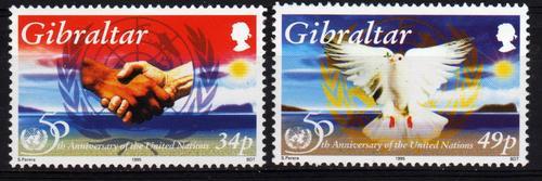 2 Estampillas De Gibraltar 50 Aniversario Naciones Unidas
