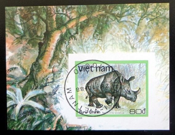 Vietnam Fauna, Bloque Sc. 1891 Rinoceronte 88 Usado L8004