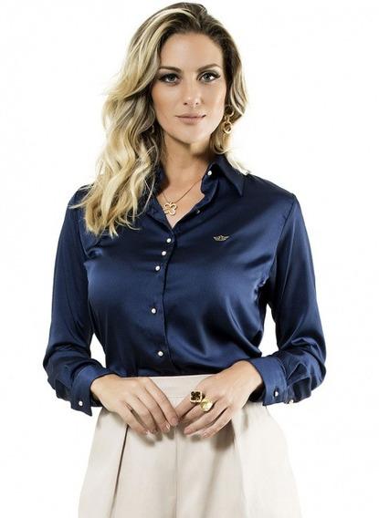 Camisa Social Marinho Feminina Principessa Jussara