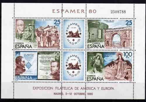 4 Estampillas De España Tema Espamer Año 1980 Block 27