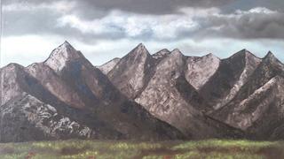 Pintura Al Óleo Montañas Nubladas