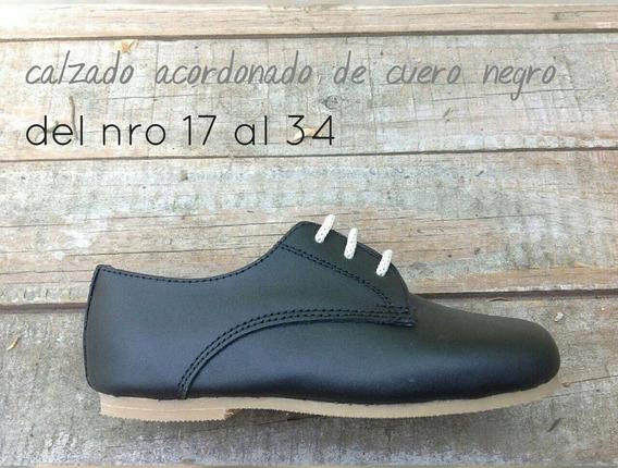 Zapatos De Cuero Negro De Niños De Varon Acordonado Calzado