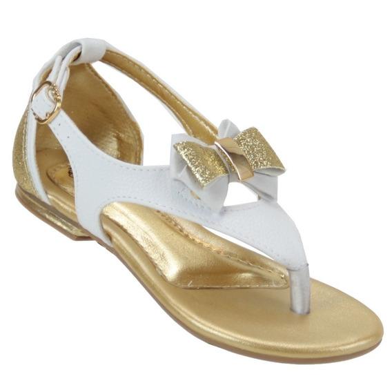 Sandalia Klin Suami Branco Dourado