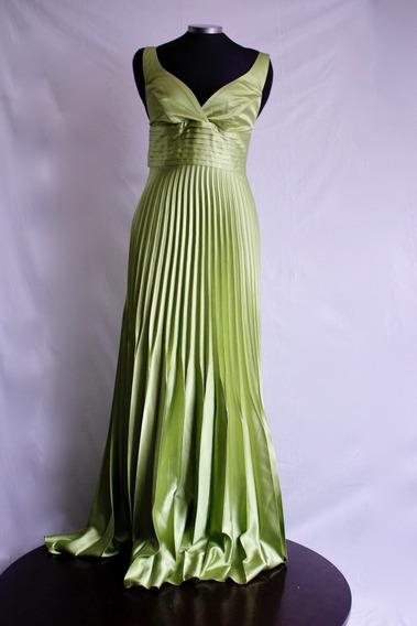 Vestido Clásico Verde Plisado