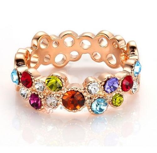 Anillo Multicolor Swarovski Crystals Nuevo Stock 6.5 7 7.5