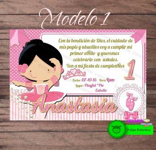 Tarjeta Invitacion Bailarina Ballet Recuerdos Cotillón Y
