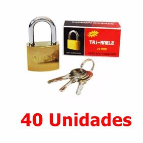 40 Cadeado 25mm C/3 Chaves Tri-angle Revenda Atacado Oferta