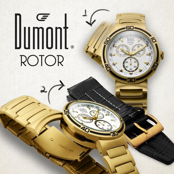 Relogio Masculino Dumont Rotor 2 Pulseiras Sk80005b Novo