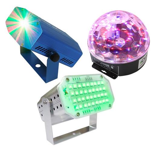 Imagen 1 de 1 de Kit Luces Disco Audio Rítmico Dj Efectos Bola Led Lasermini